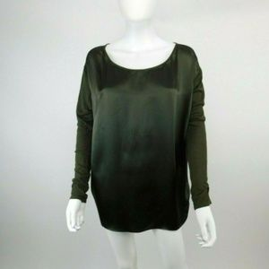 Vince. Mixed Media Silk Body Knit Sleeve Blouse